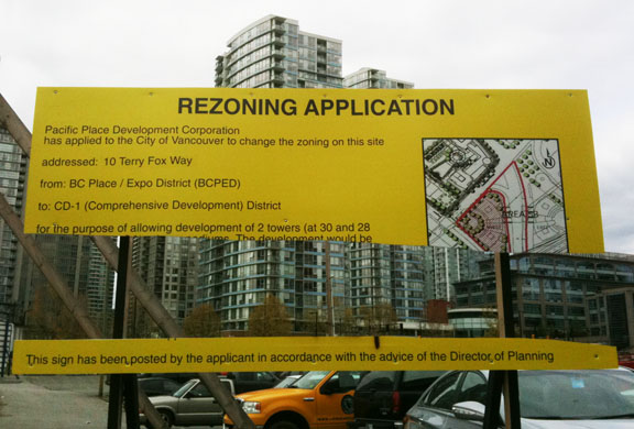 Rezoning Sign in Vancouver