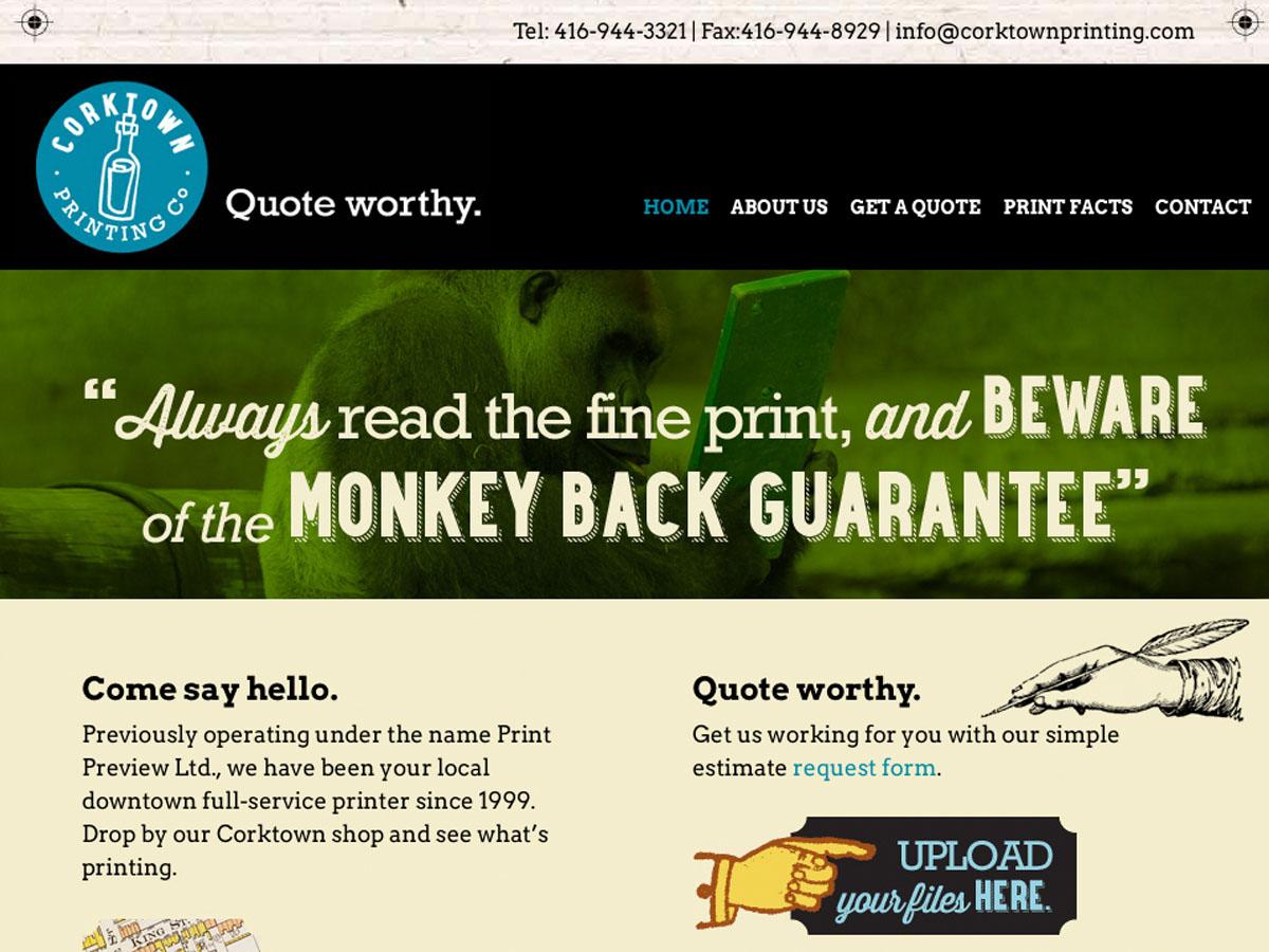 Corktown Printing Web Site DEsign